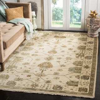 Safavieh Hand-knotted Oushak Ivory/ Blue Wool Rug (9' x 12')