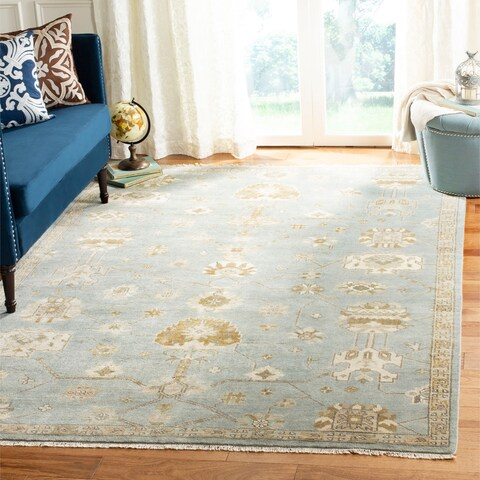Safavieh Couture Handmade Oushak Traditional Blue / Ivory Wool Rug - 6' x 9'