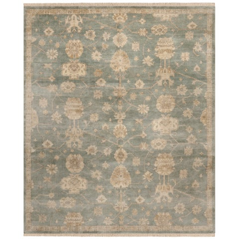 Safavieh Couture Handmade Oushak Traditional Blue / Ivory Wool Rug - 8' x 10'