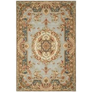 Safavieh Hand-made Savonnerie Blue/ Dark Blue Wool Rug (4' x 6')