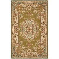 Safavieh Hand-made Savonnerie Brown/ Ivory Wool Rug - 5' x 8'