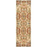 """Safavieh Hand-made Savonnerie Sage/ Beige Wool Rug - 2'6"""" x 10'"""