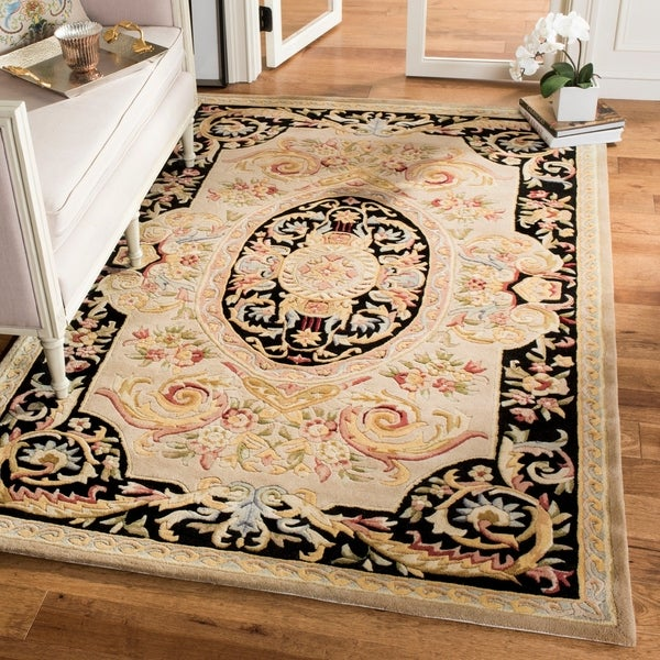 Safavieh Hand-made Savonnerie Ivory/ Gold Wool Rug - 9' x 12'