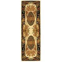 Safavieh Hand-made Savonnerie Ivory/ Gold Wool Rug - 2'6 x 12'