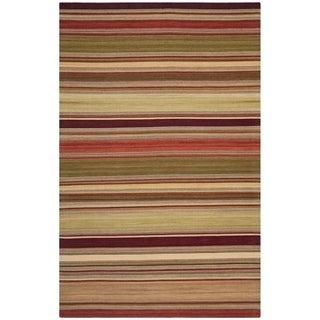 Safavieh Hand-woven Striped Kilim Red Wool Rug (2'6 x 4')