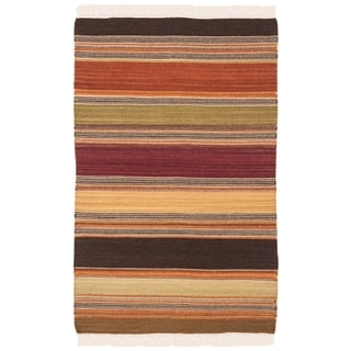 Safavieh Handmade Striped Kilim Liesa Stripe Wool Rug with Fringe