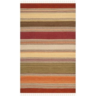 Safavieh Hand-woven Striped Kilim Green Wool Rug (2'6 x 4')