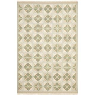 Safavieh Hand-woven Sumak Blue/ Beige Wool Rug (8' x 10')