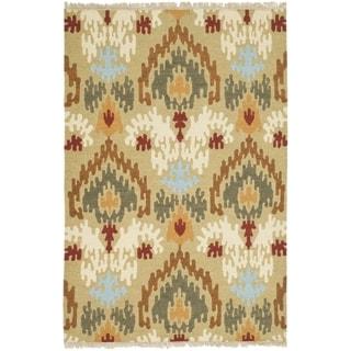 Safavieh Hand-woven Sumak Sage Wool Rug (4' x 6')