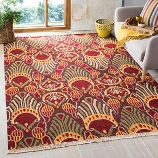 Safavieh Hand-woven Sumak Red/ Green Wool Rug (9' x 12')
