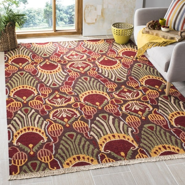 Safavieh Hand-woven Sumak Red/ Green Wool Rug - 9' x 12'