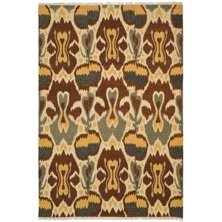 Safavieh Hand-woven Sumak Grey/ Red Wool Rug (4' x 6')