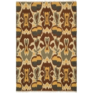 Safavieh Hand-woven Sumak Grey/ Red Wool Rug (6' x 9')