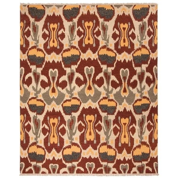 Safavieh Hand-woven Sumak Grey/ Red Wool Rug - 9' x 12'