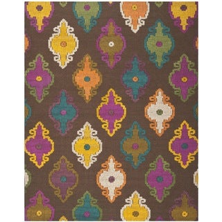 Hand Tufted Suzani Multi Color Floral Medallion Rug 8 X