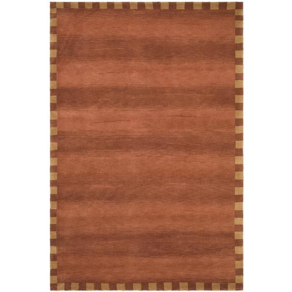 Safavieh Hand-knotted Tibetan Border Rust Wool Rug - 9' x 12'