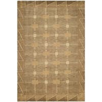 Safavieh Hand-knotted Tibetan Geometric Beige/ Brown Wool Rug - 10' x 14'