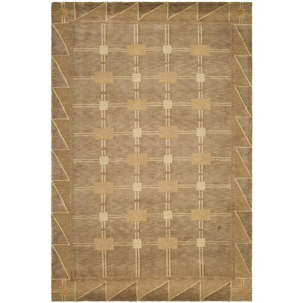 Safavieh Hand-knotted Tibetan Geometric Beige/ Brown Wool Rug - 10' x 14'