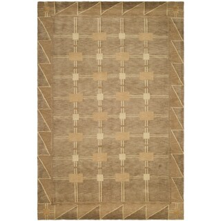 Safavieh Hand-knotted Tibetan Geometric Beige/ Brown Wool Rug (5' x 7'6)