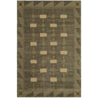 Safavieh Hand-knotted Tibetan Geometric Sage/ Tan Wool Rug (10' x 14')