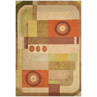 Safavieh Hand-knotted Tibetan Modern Abstract Multicolored Wool Rug (6' x 9')
