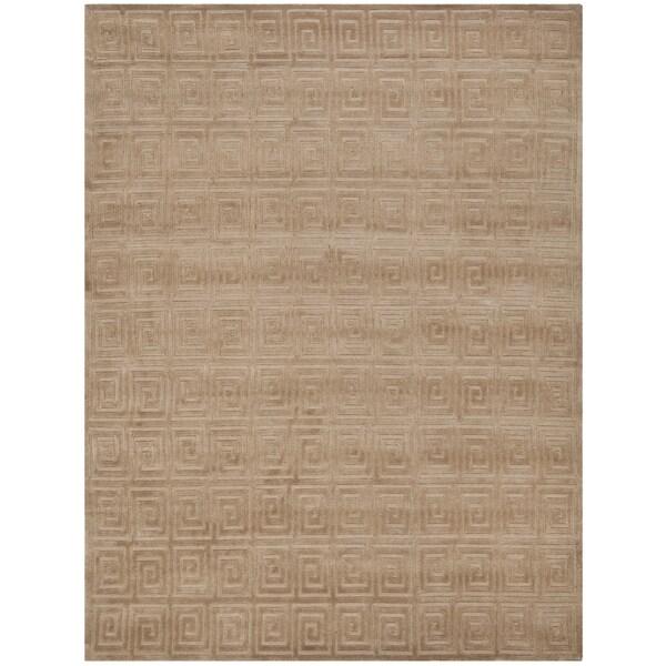 Safavieh Hand-knotted Tibetan Greek Key Camel Wool Rug (9' x 12')