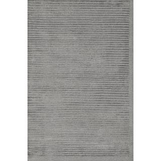 Safavieh Hand-knotted Tibetan Striped Silver/ Grey Wool/ Silk Rug (8' x 10')