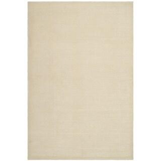 Safavieh Hand-knotted Tibetan Striped Pearl Wool/ Silk Rug - 5' x 7'6