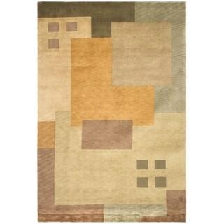 Safavieh Hand-knotted Tibetan Modern Abstract Beige Wool Rug (6' x 9')
