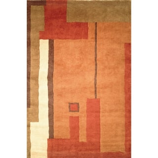 Safavieh Hand-knotted Tibetan Modern Abstract Beige/ Multi Wool Rug (10' x 14')