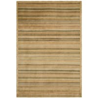 Safavieh Hand-knotted Tibetan Striped Apricot/ Sage Wool Rug - 8' x 10'