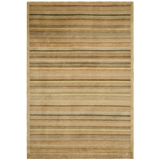 Safavieh Hand-knotted Tibetan Striped Apricot/ Sage Wool Rug (9' x 12')