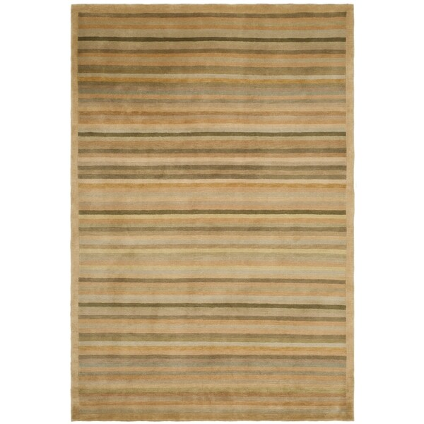 Safavieh Hand-knotted Tibetan Striped Apricot/ Sage Wool Rug - 9' x 12'