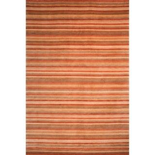 Safavieh Hand-knotted Tibetan Striped Rust/ Beige Wool Rug (4' x 6')