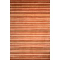Safavieh Hand-knotted Tibetan Striped Rust/ Beige Wool Rug - 4' x 6'