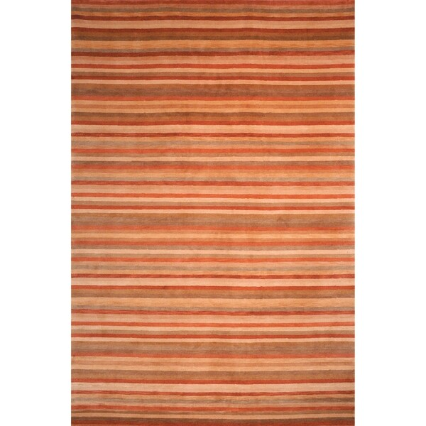 Safavieh Hand-knotted Tibetan Striped Rust/ Beige Wool Rug (5' x 7'6)