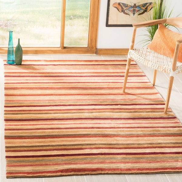 Safavieh Hand-knotted Tibetan Striped Rust/ Beige Wool Rug - 5' x 7'6