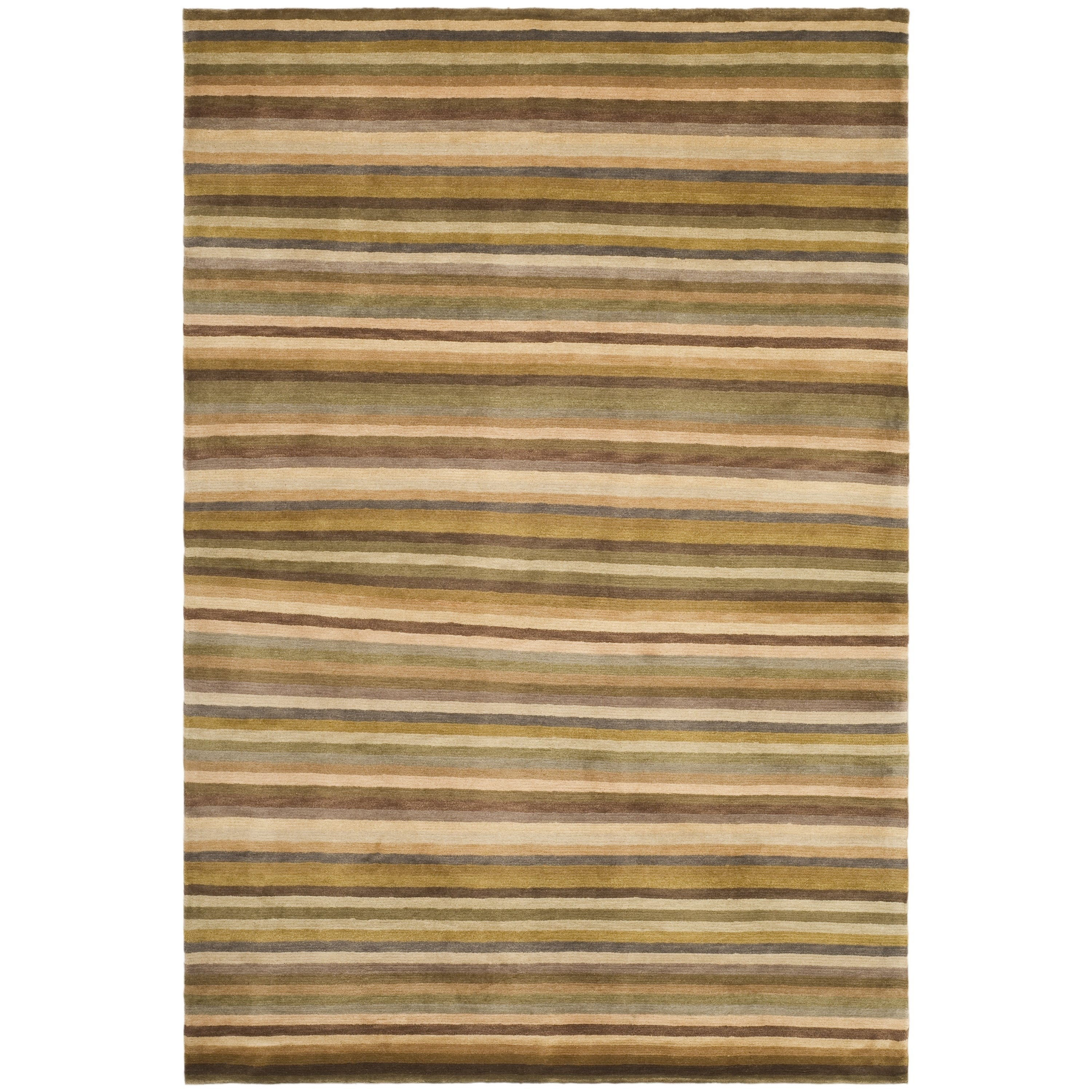 Safavieh Hand-knotted Tibetan Striped Coffee/ Olive Wool ...