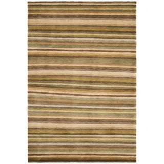 Safavieh Hand-knotted Tibetan Striped Coffee/ Olive Wool Rug (5' x 7'6)