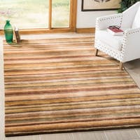 Safavieh Hand-knotted Tibetan Striped Coffee/ Olive Wool Rug - 5' x 7'6""