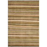 Safavieh Hand-knotted Tibetan Striped Coffee/ Olive Wool Rug - 6' X 9'