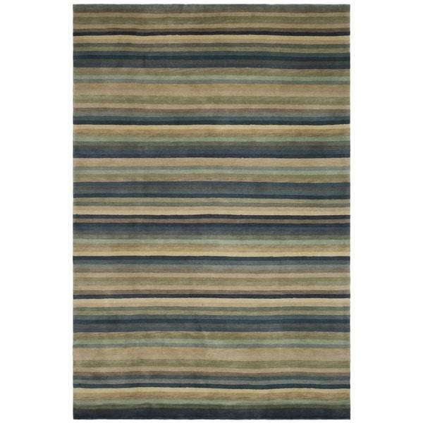 Safavieh Hand-knotted Tibetan Striped Blue/ Grey Wool Rug (6' x 9')