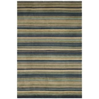 Safavieh Hand-knotted Tibetan Striped Blue/ Grey Wool Rug (8' x 10')
