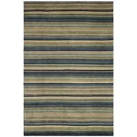 Safavieh Hand-knotted Tibetan Striped Blue/ Grey Wool Rug - 8' x 10'