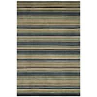 Safavieh Hand-knotted Tibetan Striped Blue/ Grey Wool Rug - 8' x 10'