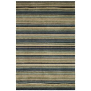 Safavieh Hand-knotted Tibetan Striped Blue/ Grey Wool Rug (9' x 12')