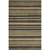 Safavieh Hand-knotted Tibetan Striped Navy/ Black Wool Rug - 4' x 6'