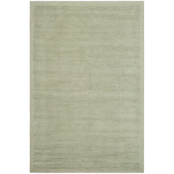 Safavieh Hand-knotted Tibetan Striped Light Green Wool/ Silk Rug - 8' x 10'