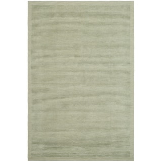 Safavieh Hand-knotted Tibetan Striped Light Green Wool/ Silk Rug (9' x 12')