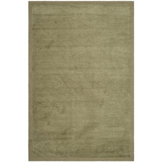 Safavieh Hand-knotted Tibetan Striped Olive Wool/ Silk Rug (10' x 14')